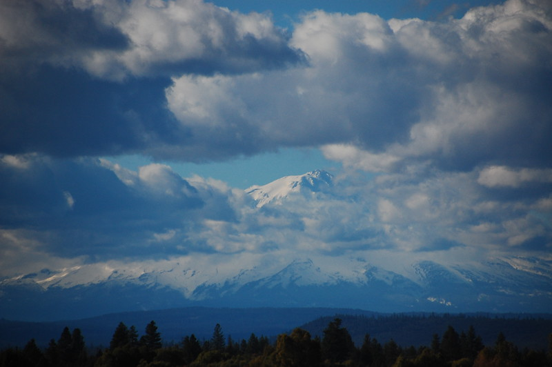Stopped along CA 299 to take in this view of the 14,000 foot Mount Shasta.  Hard to tell where the clouds stop and the mountain begins.