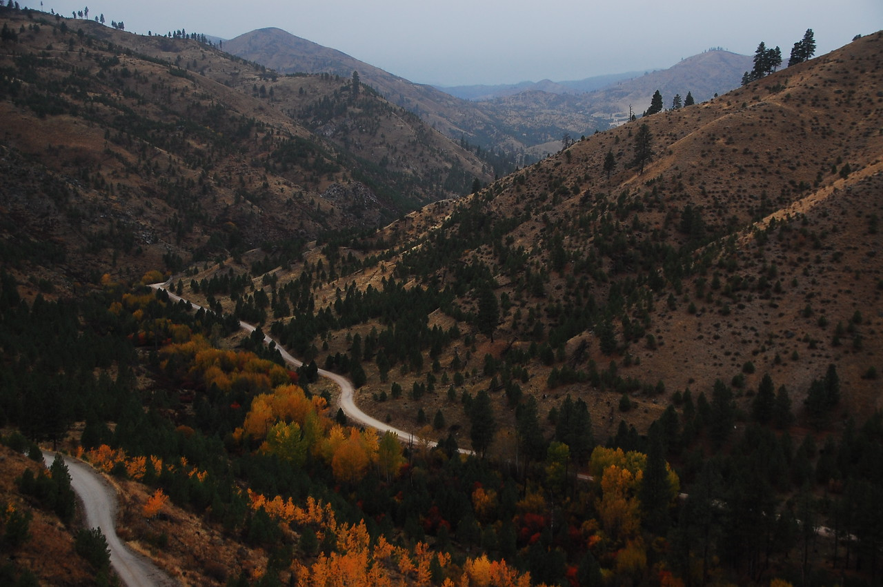 Climbing up from the N F Boise River on Slide Gulch Road, a neat dirt road with some cool switchbacks and mountain views.