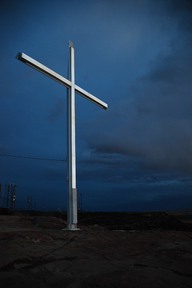 This illuminated cross stands guard over the city, very Rio de Janeiro - like.