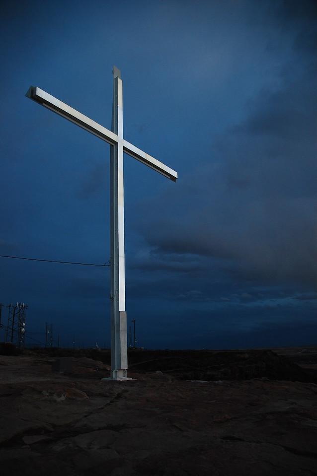 This illuminated cross stands guard over the city, very Rio de Janeiro - like.