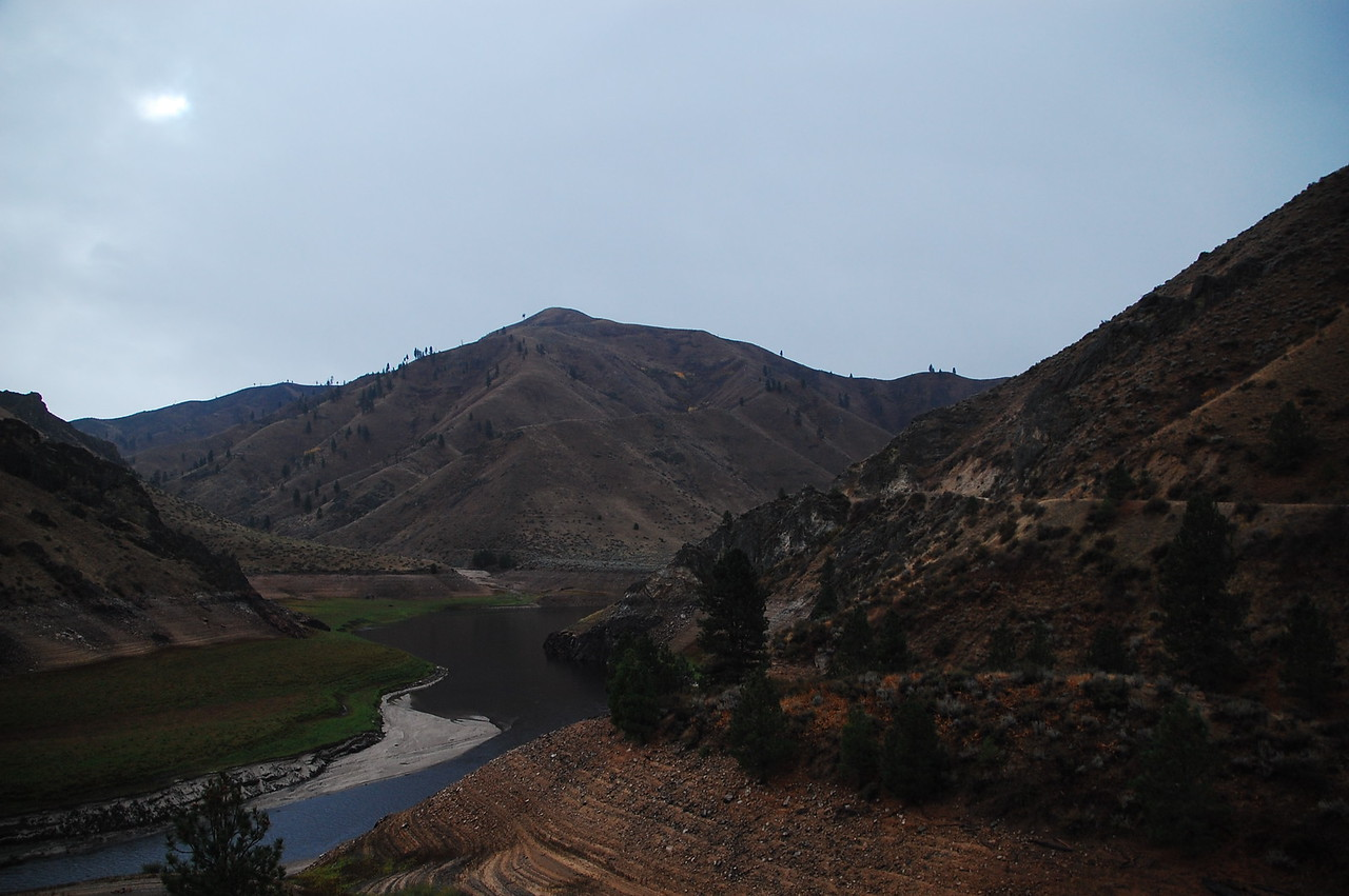 View of the N F Boise River from the N F Boise River Road.  You can see how high the water level can get.