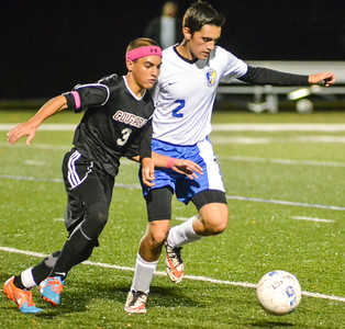 KYLE MENNIG - ONEIDA DAILY DISPATCH Madison's Mike Ford (2) and Stockbridge Valley's Kaleb Jones (3) work for the ball during their match at Morrisville State College on Saturday, Oct. 8, 2016.