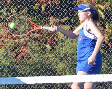 KYLE MENNIG - ONEIDA DAILY DISPATCH Oneida's Maddy Tallman returns a Whitesboro serve during a third doubles match on Wednesday, Oct. 5, 2016.