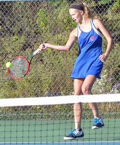 KYLE MENNIG - ONEIDA DAILY DISPATCH Oneida's Lauren Skibitski returns a serve during a second singles match against Whitesboro on Wednesday, Oct. 5, 2016.