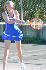KYLE MENNIG - ONEIDA DAILY DISPATCH Cazenovia's Alex Galle returns the ball during a first singles match against Oneida in the Section III Class B final in Utica on Friday, Oct. 7, 2016.