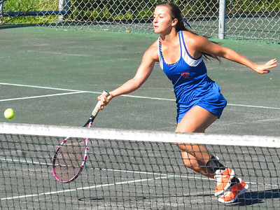 KYLE MENNIG - ONEIDA DAILY DISPATCH Oneida's Brianna Laureti returns a shot during a first singles match in the Section III Class B final against Cazenoiva in Utica on Friday, Oct. 7, 2016.