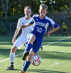 101116  Wesley Bunnell | Staff  Berlin Boys Soccer defeated Bristol Eastern 3-1 at Sage Park on Tuesday afternoon. Freshman Forward Jake Woznicki #30
