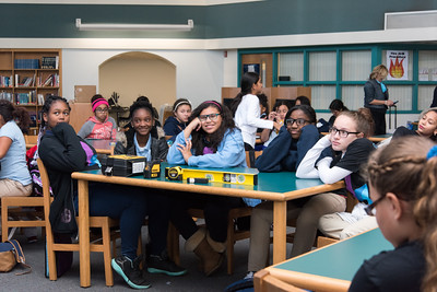 101116  Wesley Bunnell | Staff  Students of YWCA's Strive Program attended an educational presentation on engineering at Slade Middle School on Tuesday afternoon. The event was held coinciding with the International Day of the Girl 2016. Listening to a presentation by Stanley Black and Decker VP Karin Overstreet is , from left, Atyjah Mayfield, Imani Lightner, Analyze Pena, Genesis Wilson and Kylee Lapointe.