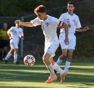 101116  Wesley Bunnell | Staff  Berlin Boys Soccer defeated Bristol Eastern 3-1 at Sage Park on Tuesday afternoon. Senior Captain Ben Kall #11