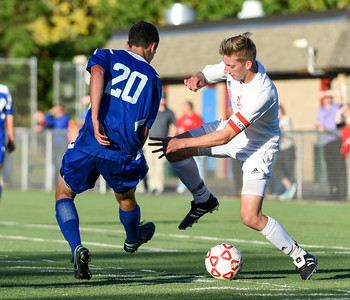 101116  Wesley Bunnell | Staff  Berlin Boys Soccer defeated Bristol Eastern 3-1 at Sage Park on Tuesday afternoon. Junior Defenseman Bruce Worley #20 and Senior Captain Evan Hilbie #18.