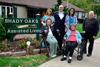 10/13/2016 Mike Orazzi | Staff Seated in the front Lucy Jawin and Carol Mullins with, standing, l to r: Terrie Motta, Tyson Belanger, Debbie Jawin-Sheak and John Parent at Shady Oaks in Bristol.