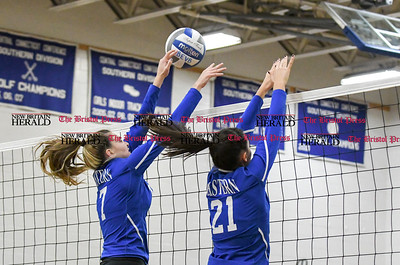 101416  Wesley Bunnell | Staff  Bristol Eastern girls volleyball vs Plainville at Bristol Eastern High School on Friday evening. Sophomore Gabriella Nozzolillo #17, left, and Sophomore Aliana Rivoira #21.
