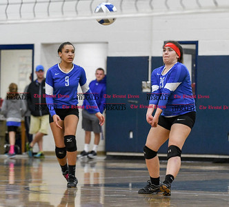 101416  Wesley Bunnell | Staff  Bristol Eastern girls volleyball vs Plainville at Bristol Eastern High School on Friday evening. Plainville's #9 Aminah Tsonga and #20 Emily Finkelstein.