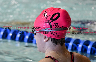 101416  Wesley Bunnell | Staff  Bristol Central girls swimming vs Plainville at the Dennis Malone Aquatics Center on Friday afternoon. Bristol Central swimmers wore Think Pink swimming caps for the meet.
