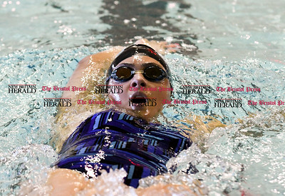 101416  Wesley Bunnell | Staff  Bristol Central girls swimming vs Plainville at the Dennis Malone Aquatics Center on Friday afternoon. Natalia Galarza for Plainville.