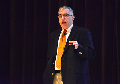 10/21/2016 Mike Orazzi | Staff  Terryville High School Class of '91 Valedictorian Dr. Glenn Konopaske, now nationally known psychiatrist, while speaking to students in AP Psychology Friday afternoon at THS.