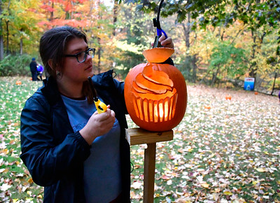 10/22/2016 Mike Orazzi | Staff Emila Miloszewski on the  jack-o-lantern trail during the Pumpkin Palooza at New Britain Youth Museum at Hungerford Park Saturday in Kensington.