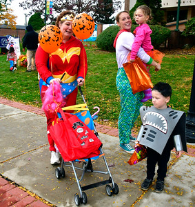 10/22/2016 Mike Orazzi | Staff Connie Martin, Amber Sprague along with her children Daniella,4, and Evan,2, during the 2nd annual Plainville PumpkinFest Saturday.
