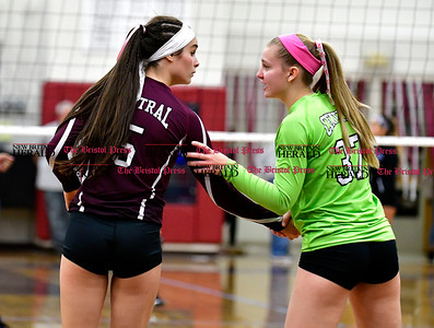 10/26/2016 Mike Orazzi | Staff Bristol Central's Brianna Saverino (5) and Autumn Blasi (37) during Wednesday night's match with Bristol Eastern.