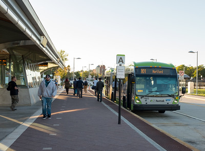 100616  Wesley Bunnell | Staff  Passengers exit the Fastrak bus on the main 101 route at the CT Fastrak station in downtown New Britain on Thursday afternoon.