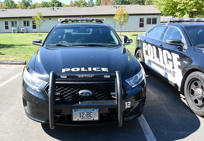 100616  Wesley Bunnell | Staff  A view of older police cars currently in service with the Berlin Police Department. The department is set to take delivery of four new cars with car mounted tablets.