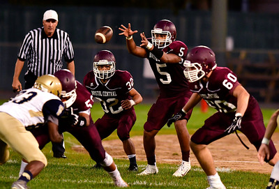 9/23/2016 Mike Orazzi   Staff Bristol Central's Isaiah Miller (5) at Muzzy Field Friday night.