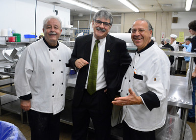 10/7/2016 Mike Orazzi | Staff State senate candidate Mike Nicastro (center) with Bristol Tech Culinary Arts' Sam Tasimi and Joseph Fortuna during a tour Friday morning.