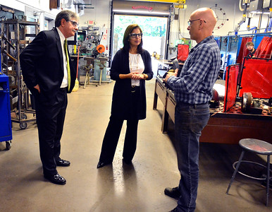 10/7/2016 Mike Orazzi   Staff State senate candidate Mike Nicastro and state senator Gayle Slossberg talk with Bristol Tech  Welding/Metal Fabrication / Technology Department Head, Joseph Hanlon, during a tour Friday morning.