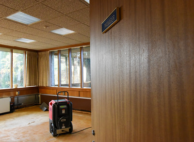 111416  Wesley Bunnell | Staff  A leak at the Berlin Town Hall has forced the Town Manager to move into a temporary office as repairs are underway.