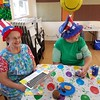 Patriotic hats. Carol and Myrna (I think).