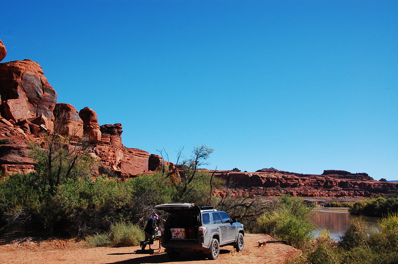 We ran a 6 mile trail spur off the White Rim down to the Colorado River and had lunch in Lathrop Canyon, Canyonlands NP.
