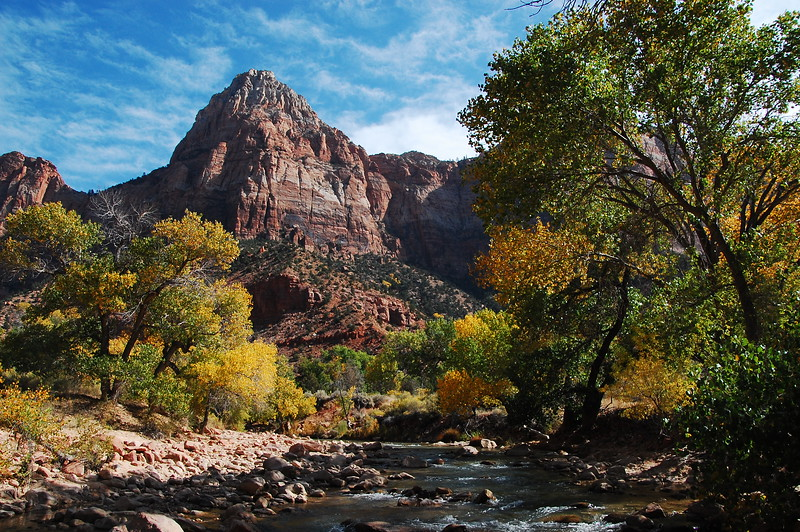 "Fall is coming to Zion NP.  This is a view of a mountain called ""The Watchman""."