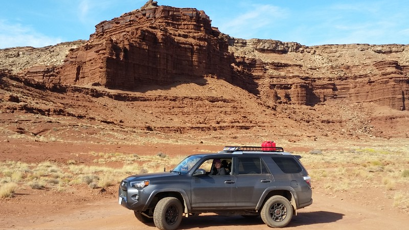 Meredith navigates a portion of the White Rim Trail.
