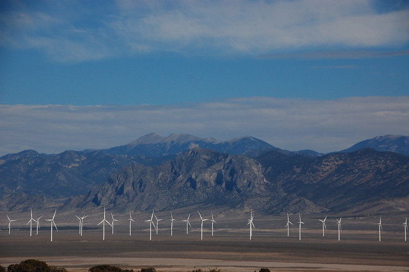 Windmill farm in the Nevada desert.