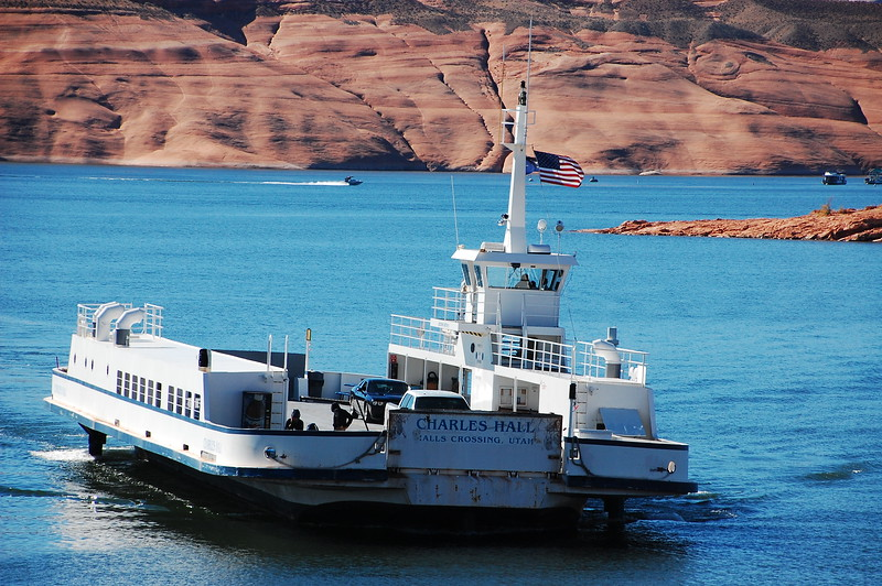 In the Glenn Canyon Nation Recreation Area, we rode the ferry across the Colorado River arm of Lake Powell.  Lake Powell is the result of the Colorado and San Juan Rivers being dammed up at their confluence in nearby Page, Arizona.