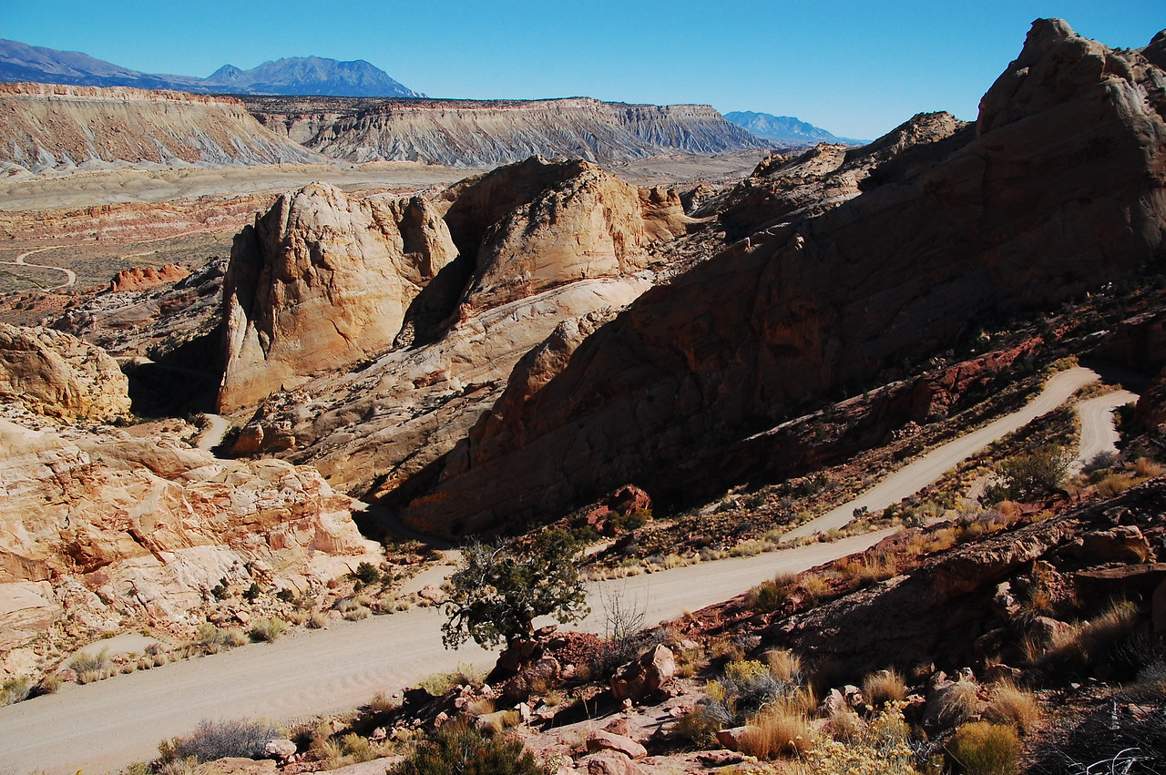 Burr Trail switchbacks, Capitol Reef NP.  The road at the center left is part of the same road.