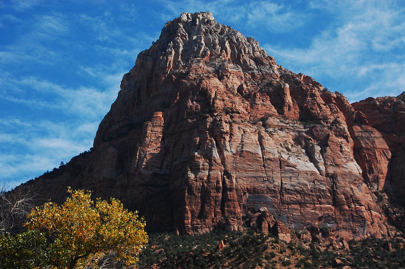 "Closer view of ""The Watchman"" at Zion NP."