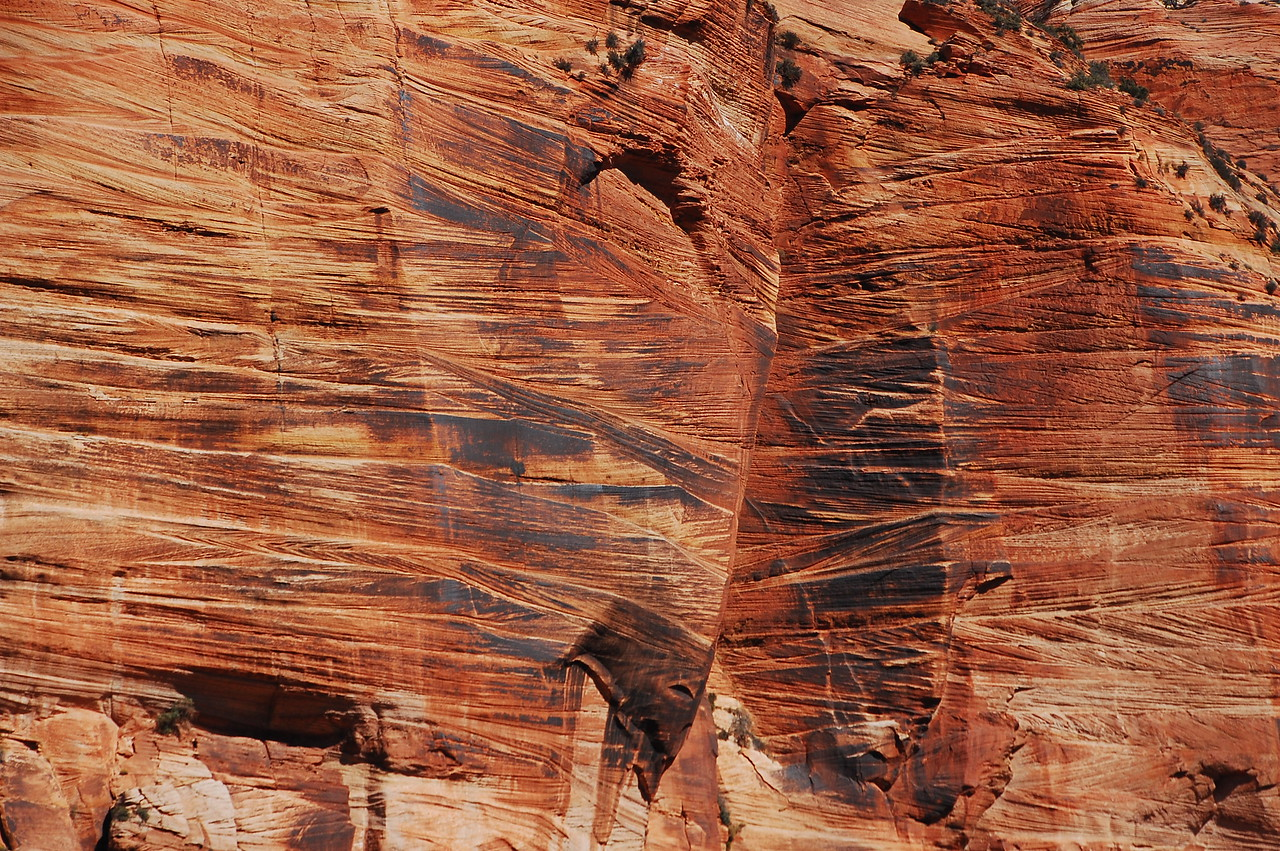 Neat striations in the rock at Zion NP.  These are cliff-sides rasped by ancient glaciers.