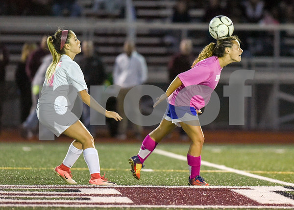 10/02/17 Wesley Bunnell | Staff Bristol Central hosted Bristol Eastern in girls soccer on Monday evening. Bristol Eastern's Jenna Soucy (3) heads the ball.