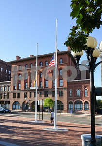 10/02/17  Wesley Bunnell | Staff  The flag flies at half staff with New Britain City Hall visible in the background in wake of the Las Vegas shootings.