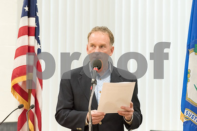A ceremony was held on Monday morning at the Southington Municipal Center for the dedication and unveiling of the Christopher Columbus Monument honoring the 525th anniversary of the discovery of America. Town Council Chairman Mike Riccio speaks to the attendees.