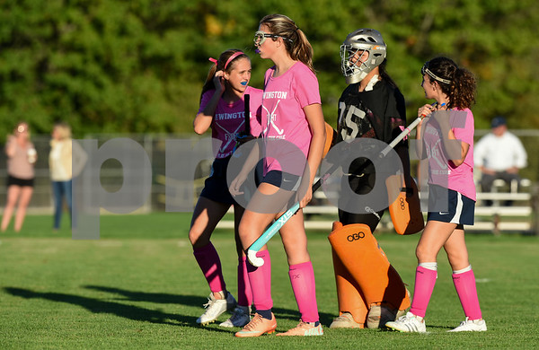 10/10/17 Wesley Bunnell | Staff Easton vs Newington field hockey on Tuesday afternoon at Newington High School. Players wore pink jerseys in recognition of Breast Cancer Awareness.