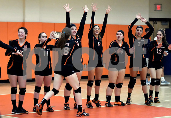 10/11/2017 Mike Orazzi | Staff Terryville volleyball players at the start of Wednesday night's match with Northwestern.