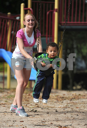 10/11/2017 Mike Orazzi | Staff Amber Cyr and her son Ayden, 22 months, while in the park on Federal Hill in Bristol Wednesday.