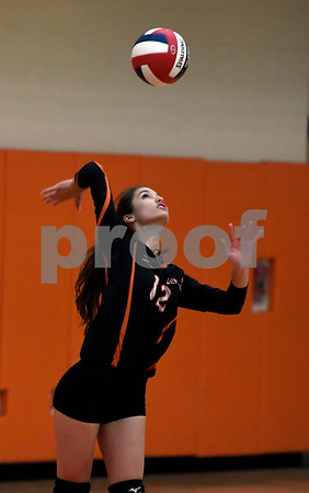 10/11/2017 Mike Orazzi | Staff Terryville's Alyssa Prozzo (12) during Wednesday night's volleyball match in Terryville.