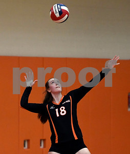 10/11/2017 Mike Orazzi | Staff Terryville's McKenzie Huria (18) during Wednesday night's volleyball match in Terryville.