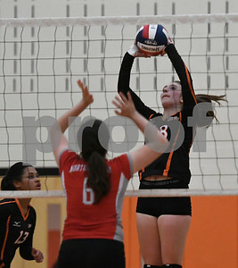 10/11/2017 Mike Orazzi | Staff Terryville's McKenzie Huria (18) during Wednesday night's match with Northwestern.