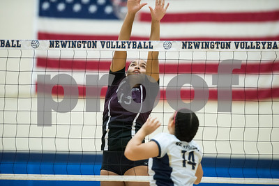 10/12/17  Wesley Bunnell | Staff  Bristol Central vs Newington girls volleyball at Newington High School on Thursday evening. Bristol Central senior Xia'ian Carrasco (13).