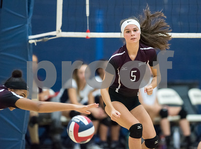 10/12/17  Wesley Bunnell | Staff  Bristol Central vs Newington girls volleyball at Newington High School on Thursday evening. Bristol central senior Brianna Saverino watches as the ball gets past senior Xia'ian Carrasco (13).