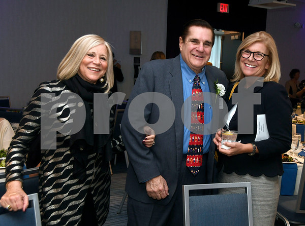 10/12/2017 Mike Orazzi | Staff Stephen AutoMall Centre's Stephen Barberino (center) with his wife Dorothy (left) and Trish Tomlinson (right) during The Boys & Girls Club of Bristol Family Center's 33rd Annual Humanitarian Awards Dinner held at the DoubleTree by Hilton Hotels in Bristol Thursday evening.